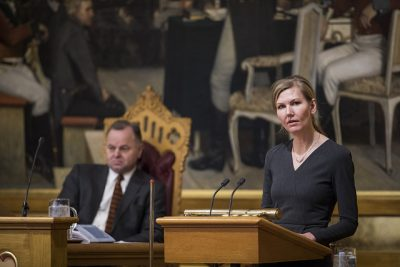 Marianne Marthinsen of the Labour Party, keen to take over Siv Jensen's job as finance minister after next fall's election, fired off the strongest criticism of the budget but failed to block it. PHOTO: Stortinget
