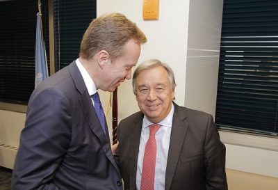 Foreign Minister Børge Brende will also be working with a new secretary general at the UN next year, Antonio Guterres. PHOTO: Utenriksdepartementet/Frode Overland Andersen