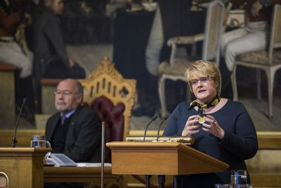 Liberals leader Trine Skei Grande continued to criticize the government during budget debate on Monday, even though she went along with the budget compromise. PHOTO: Stortinget