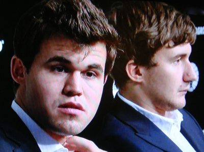 Magnus Carlsen admitted he faced a huge challenge, up against Sergey Karjakin of Russia. Karjakin was not happy about losing his stab at the World Championship title, but said Carlsen deserved to win. PHOTO: NRK screen grab/newsinenglish.no