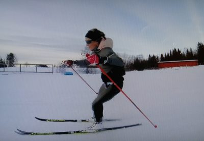 Therese Johaug, back out training at Sjusjøen in Norway. PHOTO: NRK screen grab