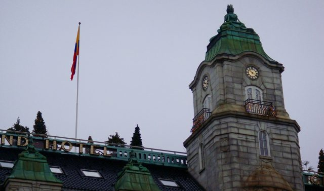 Grand Hotel, with Colombian flag