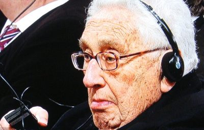 Henry Kissinger, a controversial winner of the Nobel Peace Prize himself, was in the audience at Saturday's Peace Prize ceremony in Oslo. PHOTO: NRK screen grab
