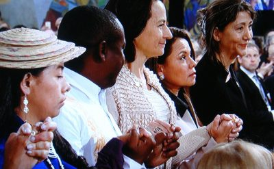 One of the most poignant moments of the Peace Prize ceremony came when prizewinner Santos recognized victims of the civil war, and they stood up. holding hands, to thunderous applause. At far right, Colombian-French politician Ingrid Betancourt, who was famously kidnapped by FARC and held for six years. PHOTO: NRK screen grab