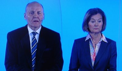 Telenor CEO Sigve Brekke (left) and Gunn Wærsted, leader of Telenor's board, faced reporters questions on Wednesday after a week fending of the media glare on serious conflicts at the company. PHOTO: NRK screen grab