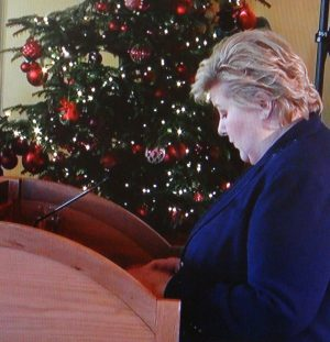 One thing seemed clear: Erna Solberg will still be the one to hold the annual address to the nation by Norway's prime minister on New Year's Day. PHOTO: NRK screen grab