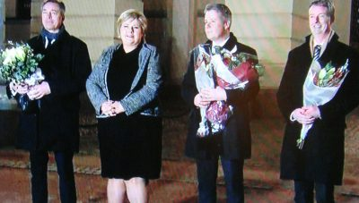 Prime Minister Erna Solberg outside the Royal Palace in Oslo Tuesday afternoon with her new ministers (from left) Frank Bakke-Jensen, Per-Willy Amundsen and Terje Søviknes. PHOTO: NRK screen grab