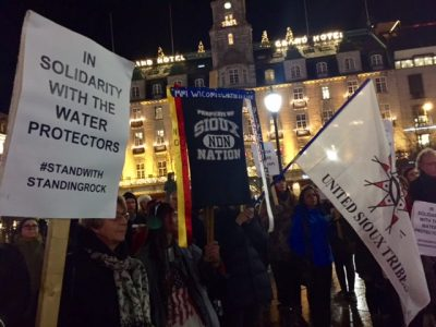 Protesters demonstrated once again in Oslo on Thursday against the Dakota Access Pipeline (DAPL). PHOTO: newsinenglish.no