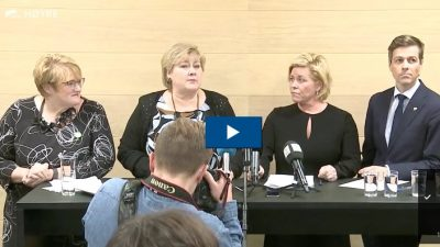 The leaders of the four parties involved with Norway's minority government coalition finally settled their budget conflict late Saturday. From left: Trine Skei Grande of the Liberals, Prime Minister Solberg of the Conservatives, Finance Minister Siv Jensen of the Progress Party and Knut Arild Hareide of the Christian Democrats. PHOTO: Høyre