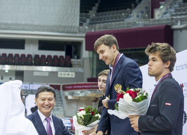 Magnus Carlsen, losing to Sergey Karjakin