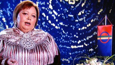 The Sami Parliament's new president, Vibeke Larsen, presented the first New Year's speech ever that was not delivered in the Sami language. That was not entirely well-received, not least after last month's political shakeup in at the Sametinget in Karasjok. PHOTO: NRK screen grab