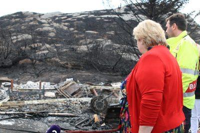 Solberg visits brushfire area